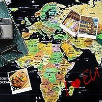 世界地図 ポスター スクラッチマップ 学習地図 旅行記念日記 貼ってはがせる 世界全図 国旗入り おしゃれ インテリア 壁 アンティーク(82 x 59cm)