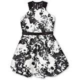Speechless Girls' Big Circle Neck Pleated Party Dress, Ivory Black Floral