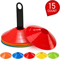 Lixada 15 pieces Agility Disc Cone Set Multi Sport Training Space Cones with Plastic Stand Holder