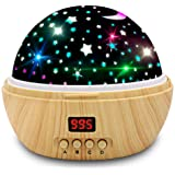 Star Projector Night Light, Wood Grain LED Bedroom Light Projector with 5-995 Minutes Timer Auto-Shut Off, Colorful Star Rota