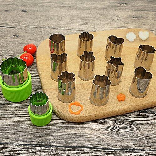 野菜抜き型 クッキー 型 SOEKAVIA 抜き型 花 ステンレス製 12個セット 野菜 果物 手作り 製菓道具 保護キャップ付き