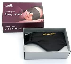 Hibermate プレミアム 睡眠アイマスク 柔らかいサテン エジプト綿インナー(ブラック)