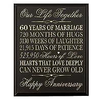 """結婚記念日60周年壁プラークのギフトカップル、記念日の贈り物を、結婚記念日ギフトfor Him 12"""" W x 15"""" H壁プラークby Dayspringマイルストーン(ブラック)"""