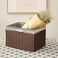 収納ボックス- ストレージバスケット織りテーブルトップスナックおもちゃ収納ボックスファブリックライニング -衣服の仕上げ (色 : Brown)