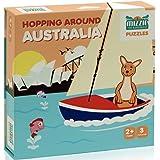 Mizzie Puzzle Box Set, 3 puzzles in 1, Baby Puzzles, Toddler Puzzles, Hopping Around Australia, Australian Landmarks, teach p