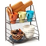 EZOWare 2-Tier Organiser Rack, Wire Basket Storage Container Countertop Shelf for Kitchenware Bathroom Cans Foods Spice Offic
