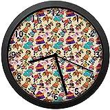 テントピエロ犬リングボールミュート、10インチ約25 cmとしてお祭りカーニバル要素のコミック漫画パターン、部屋、寝室、キッチン、壁掛け時計、ギフトとして推奨