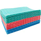 Handi Wipes Reusable Cloth Multi-Purpose Heavy Duty Towels Domestic Cleaning Dish Cloths 3 Rolls(Blue Red Green 7.87 x 11.81