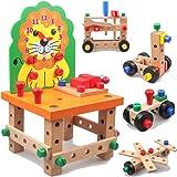 CORPER TOYS 木製 組み立て おもちゃ 59点 豪華 セットネジ止め 大工さん 工具ごっこ遊び ドライバー ハ…