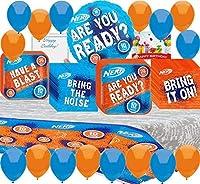 Nerf Party Supplies Birthday Plates%カンマ% Napkins%カンマ% Tablecover Balloons%カンマ% Birthday Card Bundle [並行輸入品]