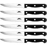 GA Homefavor 6-Piece Steak Knife Set Micro Serrated Stainless Steel Sharp Blade Flatware Steak Knives