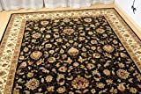 ウィルトン織 ラグ ペルシャ絨毯 デザイン ブラック 約 200X290cm 75万ノット