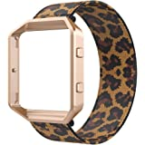 Bands Compatible with Fitbit Blaze Smartwatch,Elastic Wrist Band with Meatl Frame Replacement for Fitbit Blaze.Fit for 6.0-6.