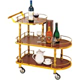 Bar Drink Trolley,3 Tiers Industrial Vintage Style Titanium Material,for Kitchen Hotel Serving Drink Trolley,Wood Color