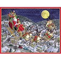 Entertaining with Caspari Santa and Sleigh Christmas Cards (Box of 16) by Entertaining with Caspari [並行輸入品]