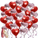 30枚入 ハート アルミバルーン アルミ風船 ハート バルーン 46cm 大きい キラキラ風船用リボン付き 誕生日 結婚式 パーティー バレンタイン お店の装飾 (赤+ピンク)