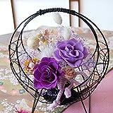 和風 プリザーブドフラワー 真珠 (紫) 【メッセージ ラッピング 無料 取説付】 お祝い 誕生日 記念日 結婚祝い ギフト プレゼント