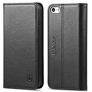 SHIELDON iPhone SE ケース 手帳型 / iPhone 5s ケース / iPhone 5 本革ケース カードポケット スタンド機能 マグネット付き アイフォンSE / 5s / 5財布型カバー ブラック
