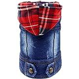 SILD Pet Clothes Dog Jeans Jacket Cool Blue Denim Coat Small Medium Dogs Lapel Vests Classic Hoodies Puppy Blue Vintage Washe