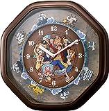 リズム時計 ONE PIECE ( ワンピース ) からくり キャラクター 掛け時計 茶 メタリック色 4MH880-M06
