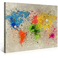 レモンツリーART 世界地図 アートパネル 油彩アート アートフレーム キャンバス絵画 インテリアパネル インテリア絵画 インテリア装飾 壁飾り ワールドマップ 木枠付きの完成品(60cm*40cm)
