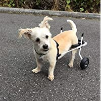 K9Carts 犬用 後肢 2輪 車いす 【 ホワイト XS 小型犬 5kg未満】 スタンダード 軽量 振動軽減 愛犬の運動不足解消 後足の介護補助器具