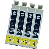 EPSON エプソン IC50 (BK/ブラック)【4本セット】 最新 互換 インクカートリッジ 《ICチップ搭載・残量表示対応・1年間保証》 ふうせん 50 黒 50BK IC50BK 純正と併用可能 (対応機種: EP-301 / EP-302
