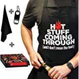 Chef Apron for Men, Cooking Apron, Funny Apron, BBQ Apron, 3 Pockets, Bottle Opener, Towel and Gift Box Included, Black 100%
