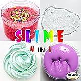 HSETIY slimeフリースライムおもちゃ、ふわふわスライム香りストレスリリーフ感覚玩具/無硼素バブルガムフレグランス(4箱(1箱あたり70g)