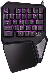 ゲーミングキーボード 片手 7色LEDバックライト付き usb有線 29キー 左手キーパッド (一年間保証付き)