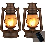 2 Pack Flame Light Vintage Lantern, Realistic Flicker Flame Camping Lamp Battery Operated LED Night Lights Landscape Decorati