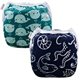 ALVABABY Swim Diapers for 0-3 Years Large Size 2pcs Reuseable Washable & Adjustable for Swimming Lesson & Baby Shower Gifts -