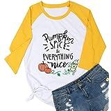 LUKYCILD Pumpkin Spice and Everything Nice Plus Size Shirt Blouse Women 3/4 Sleeve Halloween Pumpkin Graphic Print Tee Top