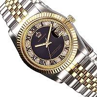 fuTuc ReginaldメンズレディースゴールドステンレススチールWatchブラックダイヤモンドDilaクオーツ日付腕時計38mm