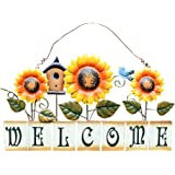 Metal Sunflower Welcome Sign Hanging Wall Art Door Decor for Indoor Outdoor Garden