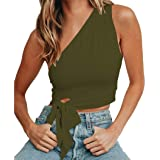 WEEPINLEE Women's Sexy One Shoulder Sleeveless Bowknot Shirts Crop Tops