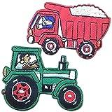 トラック トラクター 働く車 ワッペン 10枚 セット ≪ アイロン ワッペン アップリケ 入園準備 パッチ 目印 男児 (トラクター10枚) [並行輸入品]