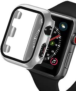 OJBSEN Apple Watch Series3/Series2 42mm ケース, Apple Watch 超薄型フィルム 液晶全面保護カバー, 日本旭硝子材 + PCフレーム 耐衝撃 傷防止 軽量 脱着簡単 対応 新しい アップルウォッチシリーズ 3/2 カバー 42mm -シルバー