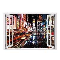 "Alonlineアート–New York Times Square Fake 3dウィンドウキャンバスの印刷( 100%コットン、フレームなしunmounted ) 17""x12"" - 43x30cm VM-2WD334-STK0F00-1P1A-17-12"