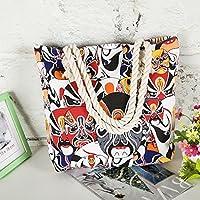 Has Many Uses Female Canvas Shoulder Bag Simple File Shopping Handbag Beijing Opera Mask