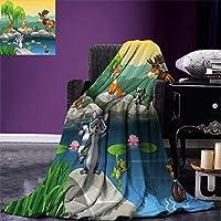 """smallbeefly Cartoon Throw Blanket面白いマスコット動物by the LakeムースFox Squirrel Raccoonキッズ子供部屋テーマ暖かいマイクロファイバーベッドやソファのすべてのシーズン毛布マルチカラー 90""""x70"""""""