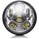 Colight ハーレー LEDヘッドライト 5.75インチ Hi/50W Lo/30W IP68防水 車検対応 ハーレー ダビッドソン用 (M003D, シルバー)