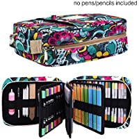 Pencil Case Holder Slot - Holds 202 Colored Pencils or 136 Gel Pens with Zipper Closure
