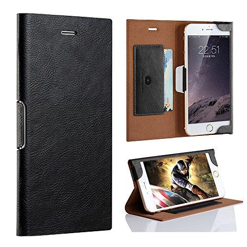 PZX iphone8 ケース 手帳型 軽量 薄型 カード収納 マグネット式 スタンド機能 PUレザー 耐摩擦アイフォン8 カバー 手帳型ケース(iphone8, ブラック)