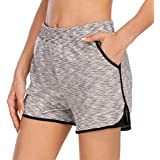 HOMETA Women 2-in-1 Sports Shorts Workout Running Shorts Yoga Gym Athletic with Pockets