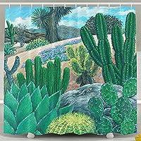 砂漠のサボテン バスカーテン お風呂カーテン 間仕切り 防水 防カ 150*180cm