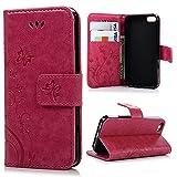 BestCool iPhone5/iPhone5S対応ケース おしゃれ 純色 バタフライの印 PUレザー 上絵 手帳型 カード入れ 財布カバー スタンド機能 耐衝撃 防塵 耐久性 装着やすい バラ色