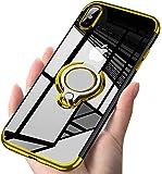 iPhone XS MAX ケース リング クリア 透明 耐衝撃 全面保護 磁気カーマウントホルダー スタンド 柔らかい殻 ケース 車載ホルダー対応 薄型 軽量 充電対応 TPU 滑り防止 黄変防止 簡潔なファッション 高級なカーボン風