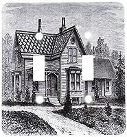 3drose LSP _ 203713_ 2印刷の国Farmhouse inブラックandホワイト–ダブル切り替えスイッチ
