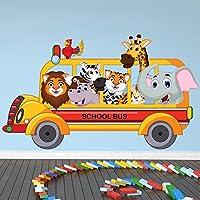 動物学校バス壁ステッカーサファリ動物壁デカール子供寝室ホーム装飾で使用可能な8サイズ 06. XX-Large 137cm (W) x 80cm (H)